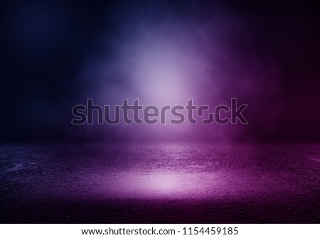 Background of empty room with spotlights and lights, abstract purple background with neon glow Royalty-Free Stock Photo #1154459185