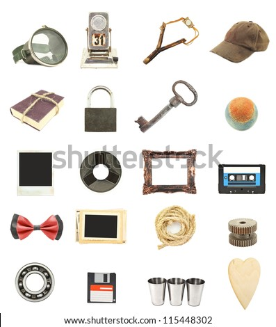 collection things vintage isolated on white background