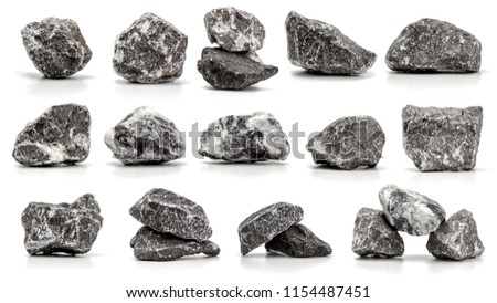 collection of stones isolated on white background.close up #1154487451