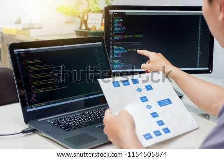 Developing programming and coding technologies on desk white, Website design, Programmer working in a software develop company office,Data processing center #1154505874