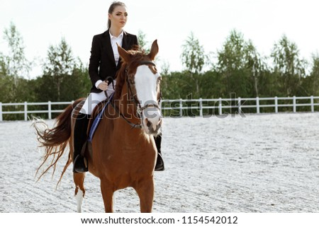 Rider elegant woman riding her horse outside. jockey and brown horse #1154542012