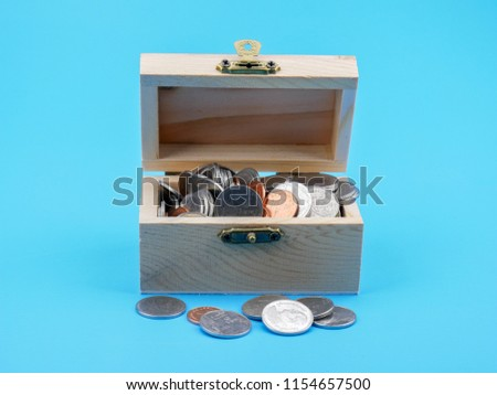 thai coin in the wood chest on blue background  #1154657500