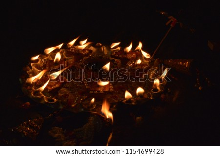 Diwali celebrations. crackers explosion.diva lights  #1154699428