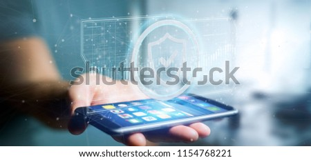 View of a Man holding a Shield web security concept 3d rendering #1154768221