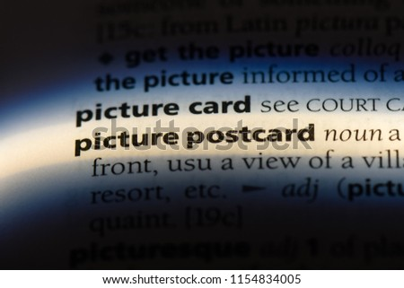 picture postcard word in a dictionary. picture postcard concept.