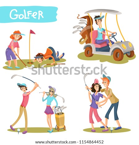 Set of female and male golfers cartoon characters playing golf, learning hold stick, hitting ball, driving golf car illustration isolated on white. Funny golf players couple on field collection