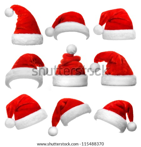Set of red Santa Claus hats isolated on white background Royalty-Free Stock Photo #115488370