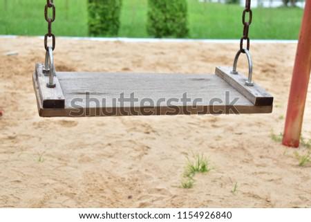 Wood Swings, Swings chain,Swings playground, Swings sandy field, #1154926840