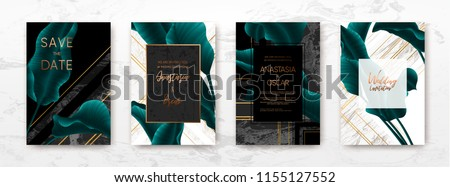 Wedding invitation with palm leaves, gold, black, white marble template, artistic covers design, colorful texture, modern backgrounds.Trendy pattern, graphic gold brochure.Luxury Vector illustration Royalty-Free Stock Photo #1155127552