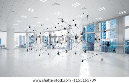 Lines connected with dots as social communication concept in office interior. 3D rendering #1155165739