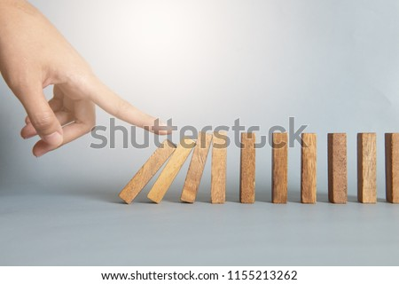hand stop a dominoes continuous toppled #1155213262