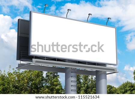 Billboard with empty screen, against blue cloudy sky #115521634