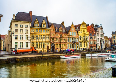 Korenlei (Wheat Quay or Corn Quay), a quay in the historic city center of Ghent, located on the left bank of the Leie river, Belgium #1155242434