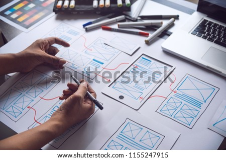 ux Graphic designer creative  sketch planning application process development prototype wireframe for web mobile phone . User experience concept. #1155247915