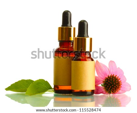 bottles with essence oil with purple echinacea , isolated on white #115528474