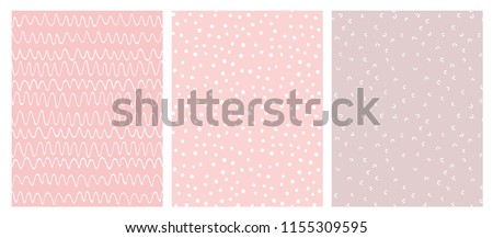 Abstract Hand Drawn Geometric Childish Style Vector Pattern Set. White Waves, Arches and Dots on a Various Pink Backgrounds. Cute Irregular Geometric Seamless Vector Pattern.  Royalty-Free Stock Photo #1155309595