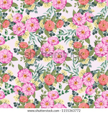Seamless gorgeous bright pattern in small garden flowers of zinnia. Millefleur. Floral background for textile, wallpaper, covers, surface, print, gift wrap, scrapbooking, decoupage #1155363772
