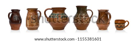 Mix set of rustic jugs isolated on white background, different size and shape #1155381601