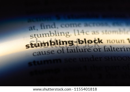 stumbling block word in a dictionary. stumbling block concept. #1155401818