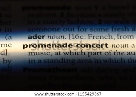 promenade concert word in a dictionary. promenade concert concept. #1155429367