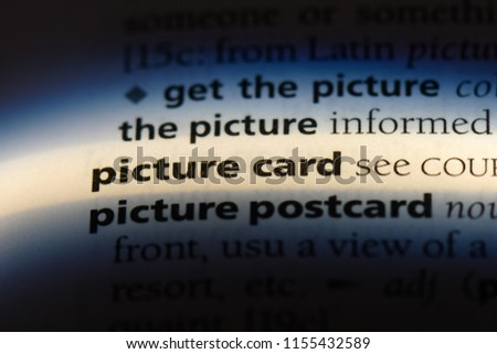 picture card word in a dictionary. picture card concept.
