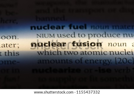 nuclear fusion word in a dictionary. nuclear fusion concept. #1155437332