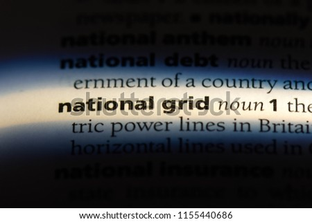 national grid word in a dictionary. national grid concept. #1155440686