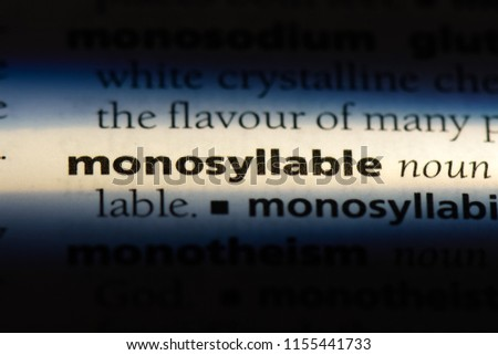 monosyllable word in a dictionary. monosyllable concept. #1155441733
