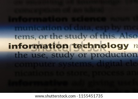 information technology word in a dictionary. information technology concept. #1155451735