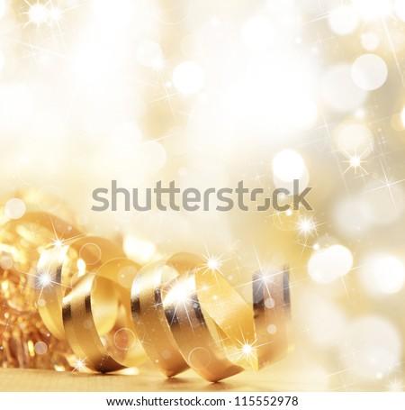 Golden christmas ribbon #115552978