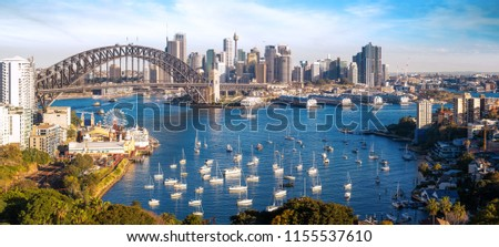 Panorama of Sydney city, cityscape of New South Wales, Sydney view point from roof top of Australia hotal #1155537610