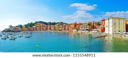 View of beautiful coastline in summer at the Bay of Silence in Sestri Levante, Italy. #1155548911