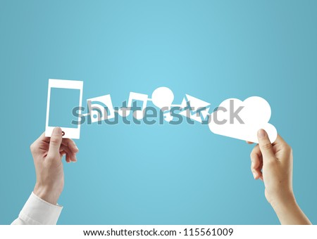 phone and cloud in hands, social media concept