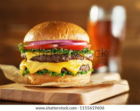 double cheese burger with beer #1155619606
