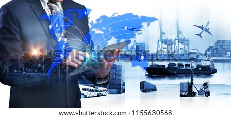 World map with logistic network distribution on background. Logistic and transport concept in front Industrial Container Cargo freight ship for Concept of fast or instant shipping Online  #1155630568