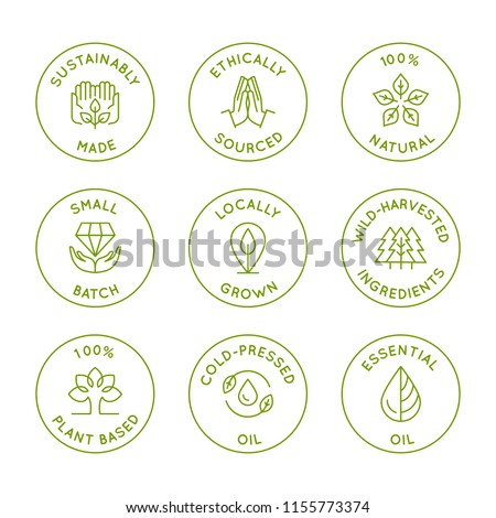 Vector set of linear circle design elements, logo templates, icons and badges for natural organic cosmetics with safe wild-harvested plant-based eco ingredients - sustainably made, ethically sourced