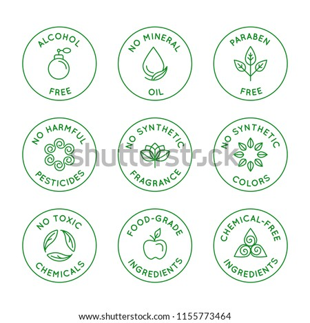 Vector set of linear circle design elements, logo templates, icons and badges for natural organic cosmetics with safe eco ingredients - no alcohol, synthetic fragrance and colors, pesticides