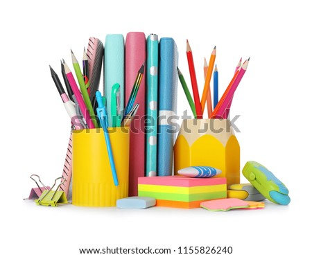Different colorful stationery on white background. Back to school Royalty-Free Stock Photo #1155826240
