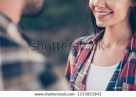Cropped face close up view photo portrait of beautiful lovely cute with white beaming toothy smile lady talking with bearded handsome macho guy looking at each other #1155851842