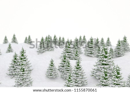 Winter landscape snowy landscape and fir Christmas trees. 3d illustration #1155870061
