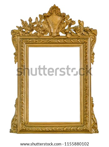 The antique gold frame on the white background #1155880102