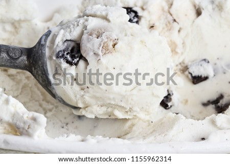 Overhead shot of chocolate chip cookie dough ice cream viewed from above.