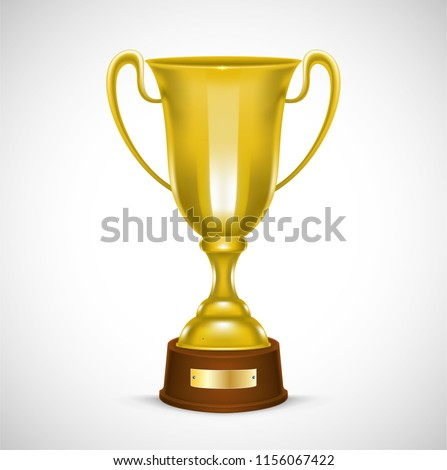 Golden Trophy with text space, Vector Illustration #1156067422