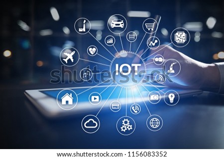 IOT. Internet of Thing concept. Multichannel online communication network digital 4.0 technology internet wireless application development mobile smartphone app. #1156083352