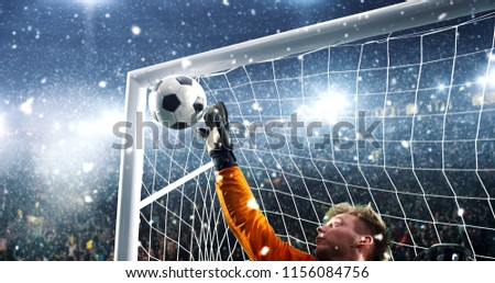 Goalkeeper tries to save from a goal on a professional soccer stadium while it's snowing. Stadium and crowd are made in 3D.