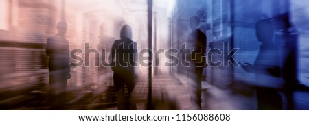 Silhouettes of people walking in the street near skyscrapers and modern office buildings. Multiple exposure blurred image. Economy, finances, business concept illustration. Conseptual.  #1156088608