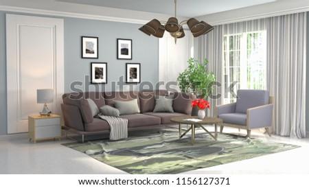 Interior of the living room. 3D illustration #1156127371
