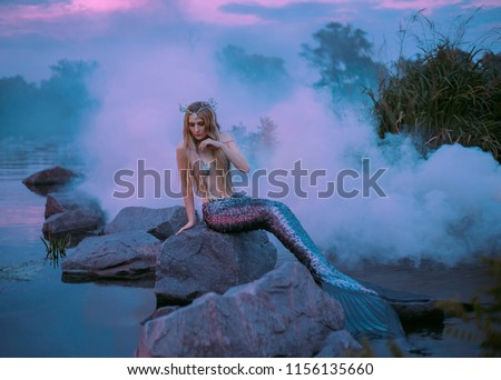 a beautiful mermaid is sitting on the rock in the purple fog #1156135660