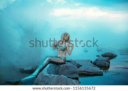 wonderful young mermaid is relaxing, warming herself in the evening sun #1156135672
