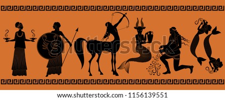 The last six signs of the zodiac as myths of ancient Greece in decorative border: Libra, Scorpio, Sagittarius, Capricorn, Aquarius, Pisces #1156139551